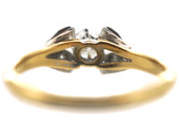 Art Deco 18ct Gold & Platinum, Diamond Solitaire Ring with Bow Shoulders
