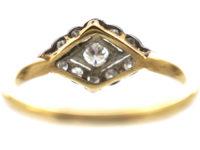 Edwardian 18ct Gold & Platinum, Diamond set Diamond Shaped Ring
