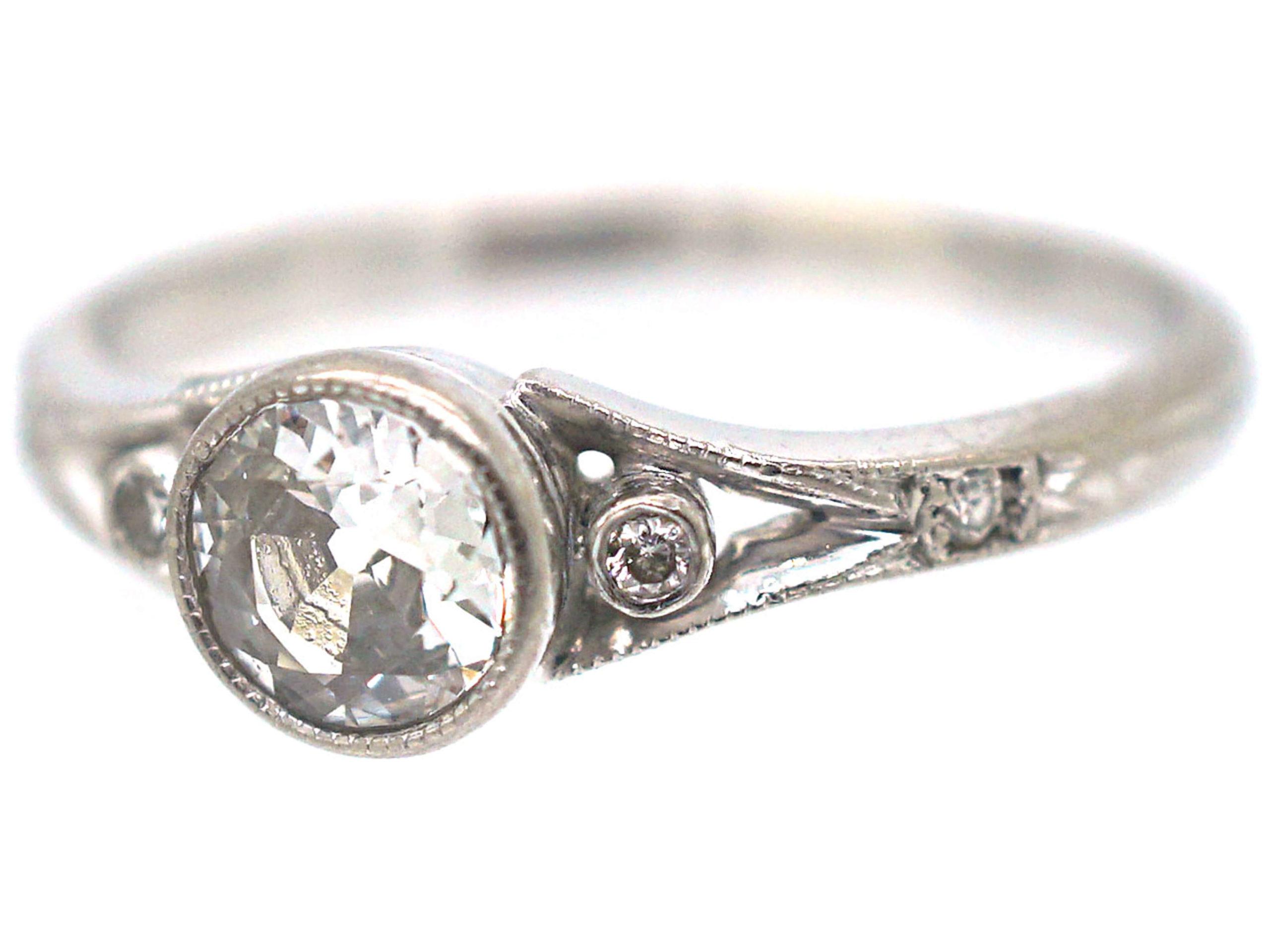 Art Deco 14ct White Gold Diamond Solitaire Ring
