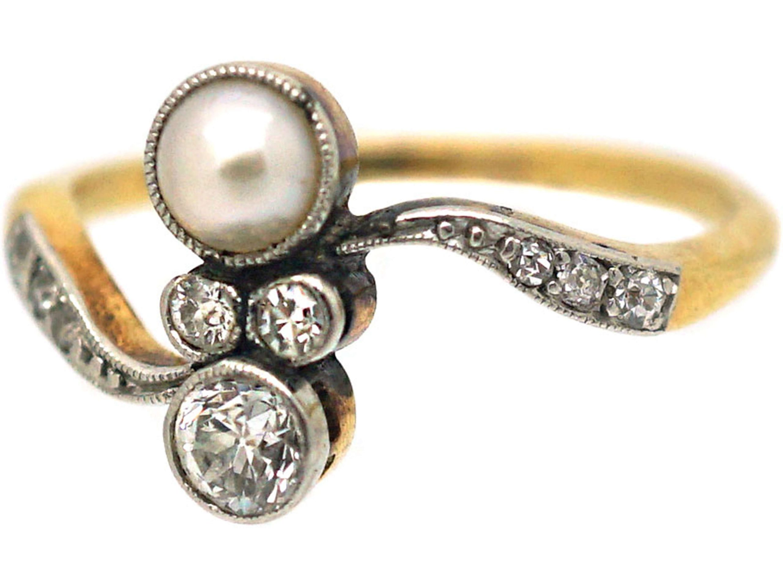 Art Nouveau 18ct Gold, Platinum, Natural Pearl & Diamond Crossover Ring