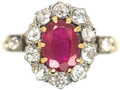 Edwardian 18ct Gold & Platinum, Ruby & Diamond Cluster Ring with Diamond Set Shoulders