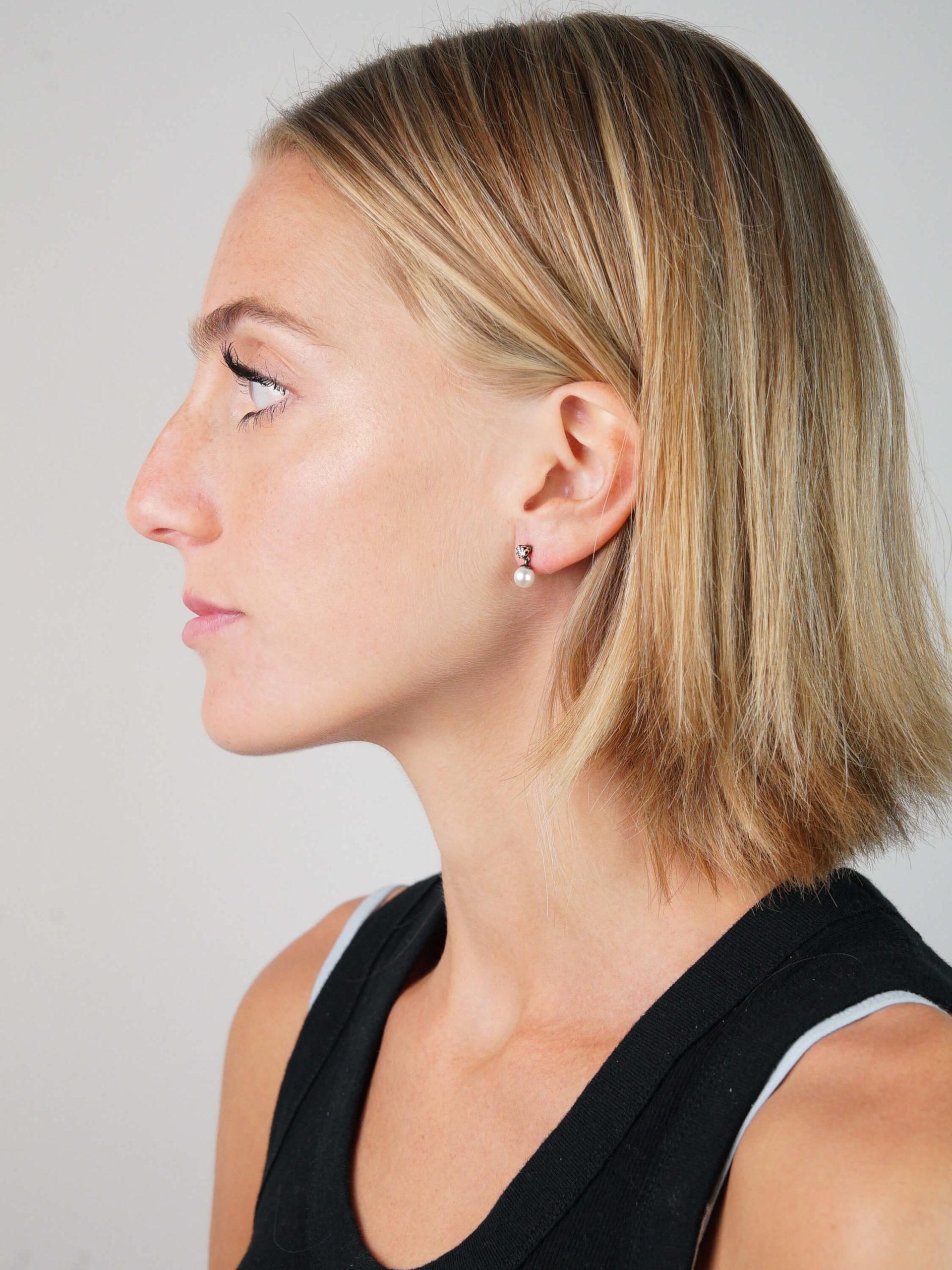 Edwardian Natural Saltwater Pearl & Diamond Earrings