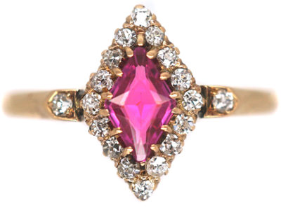 Edwardian 18ct Gold, Pink Sapphire & Rose Diamond, Diamond Shaped Ring