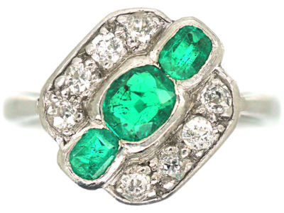 Art Deco 18ct White Gold & Platinum, Emerald & Diamond Ring