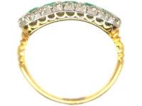 Edwardian Emerald Five Stone & Diamond Boat Shaped Ring