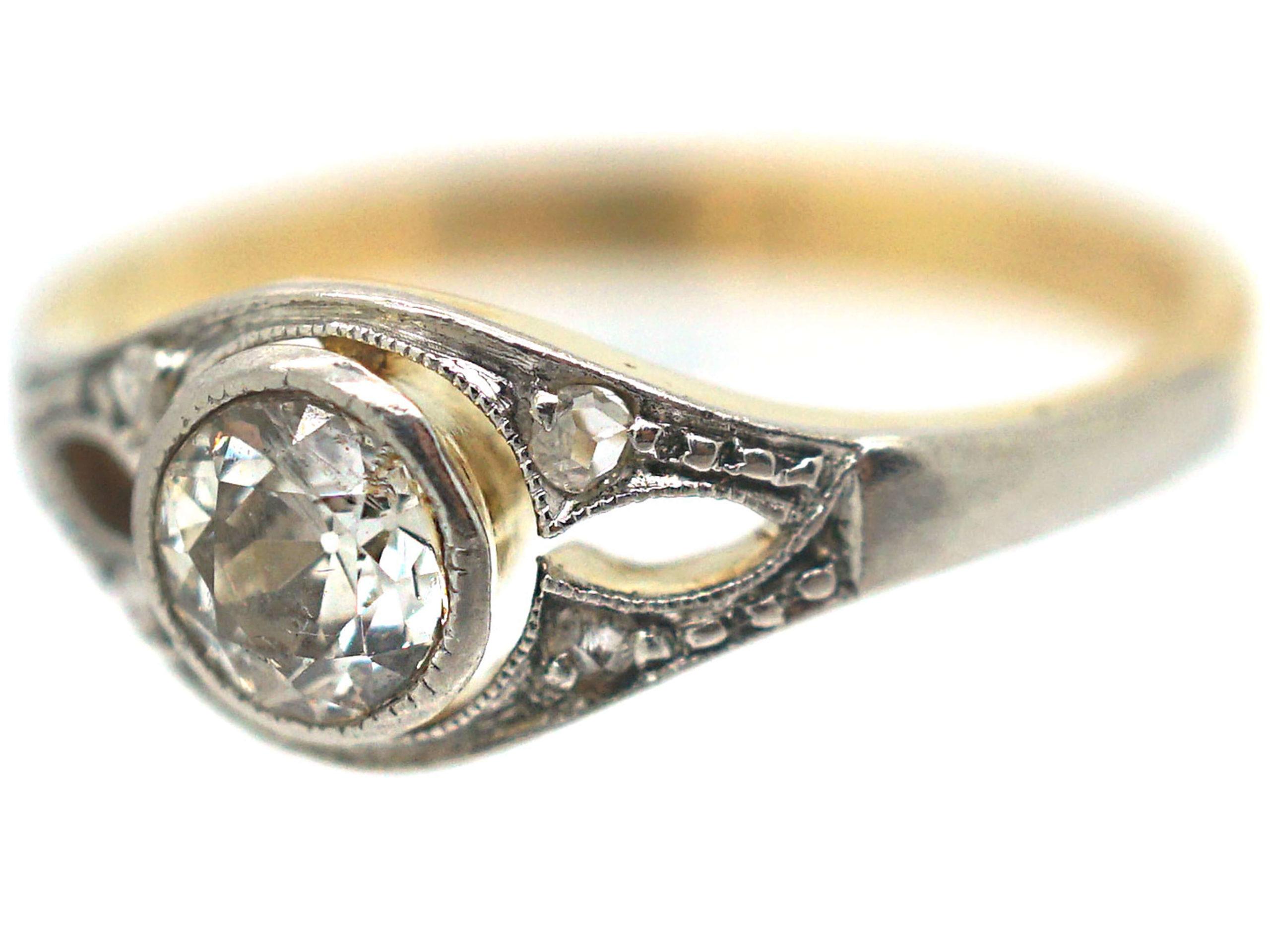 Art Deco 14ct Gold & Diamond Solitaire Ring