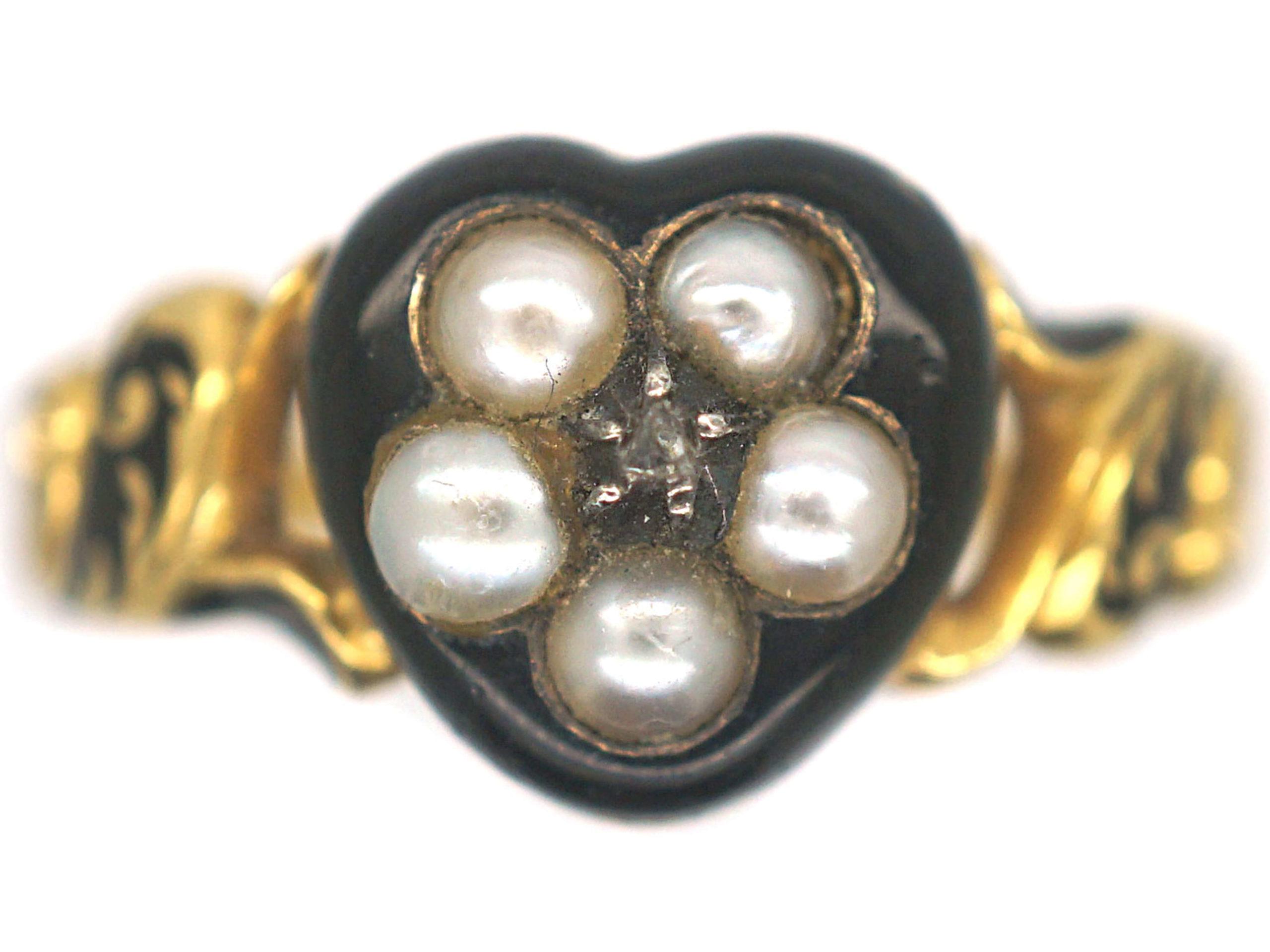 William IV 18ct Gold & Black Enamel Heart Shaped Ring