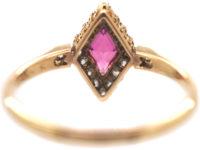 Edwardian 18ct Gold, Pink Sapphire & Rose Diamond, Diamond Shaped Ring