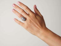Art Deco 18ct Gold & Platinum Diamond & Onyx Oval Ring