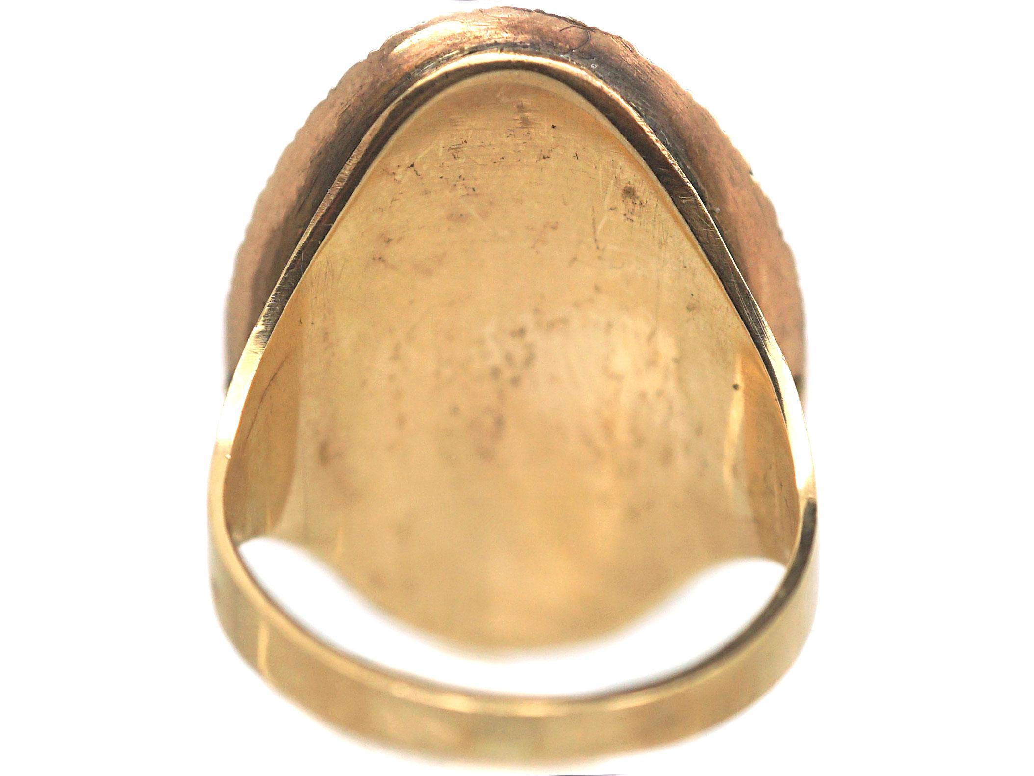 Georgian Gold, Bristol Blue Glass, Natural Split Pearl & Diamond Oval Ring