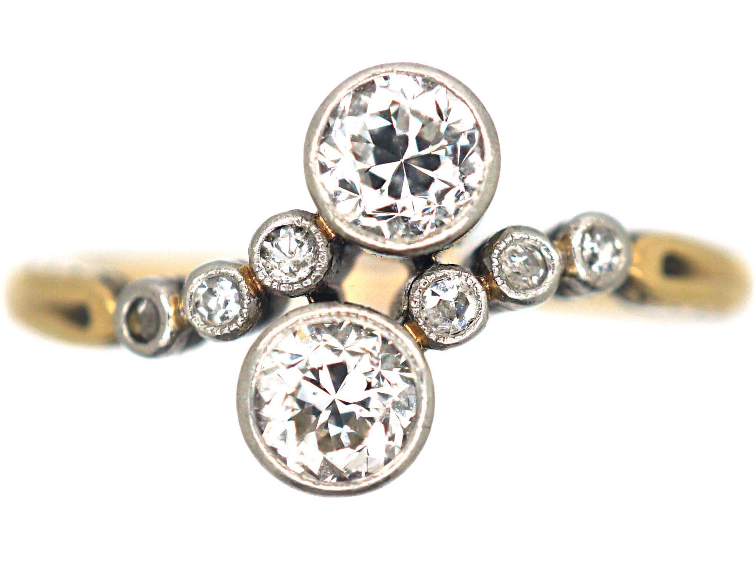 Edwardian 14ct Gold, Platinum & Diamond Crossover Ring