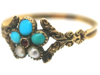 Georgian Gold, Turquoise & Pearl Cluster Posy Ring