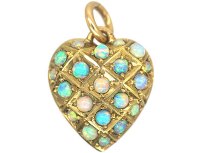 Edwardian 15ct Gold Heart Shaped Pendant set with Opals