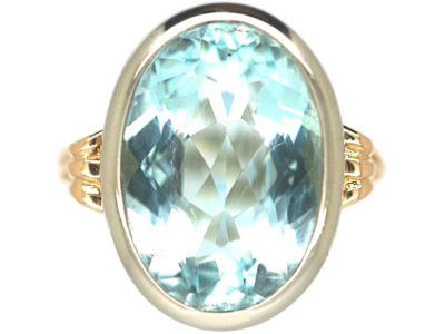 Retro 18ct White & Yellow Gold Large Aquamarine Ring