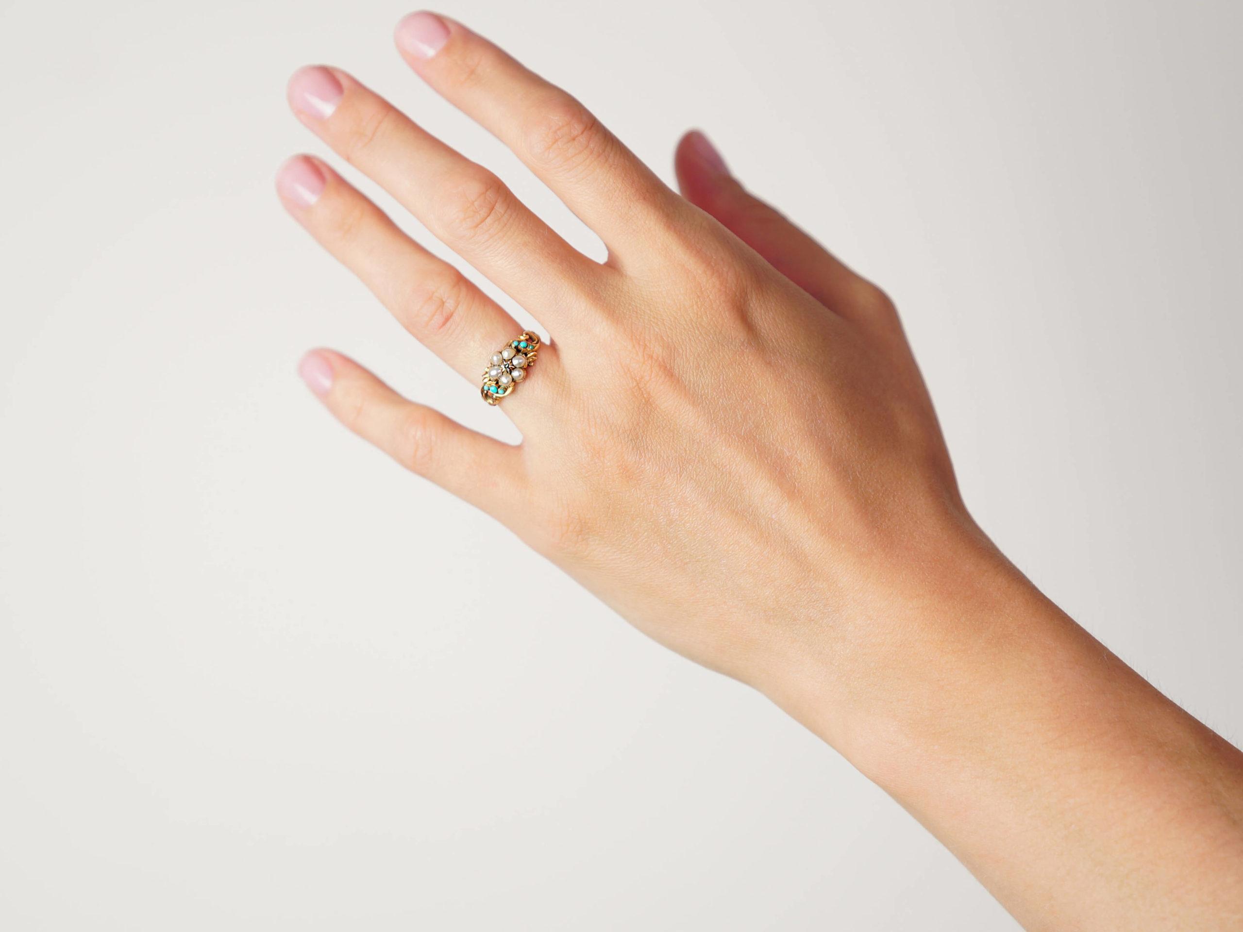 Regency 15ct Gold, Turquoise & Natural Split Pearl cluster Ring