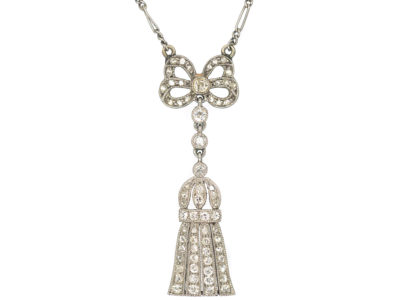 Edwardian Platinum, Diamond Bow & Tassel Pendant on Chain