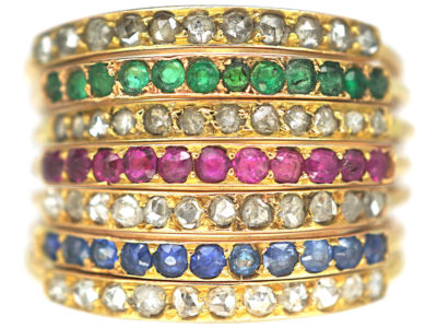 18ct Gold Seven Row Harem Ring set with Sapphires, Rubies,Emeralds & Rose Diamonds