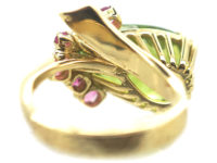 1970s 18ct Gold, Ruby & Large Pear Shaped Peridot Ring