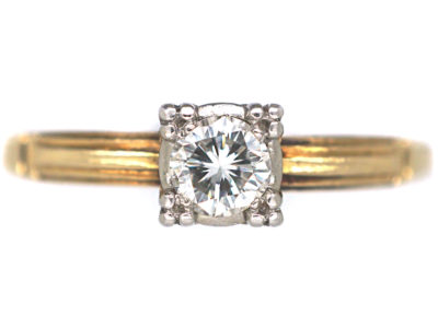 Art Deco 14ct Gold & Platinum Diamond Solitaire Ring