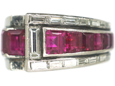 Retro Platinum, Ruby & Diamond Cocktail Ring