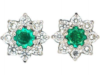 18ct White Gold Emerald & Diamond Cluster Earrings