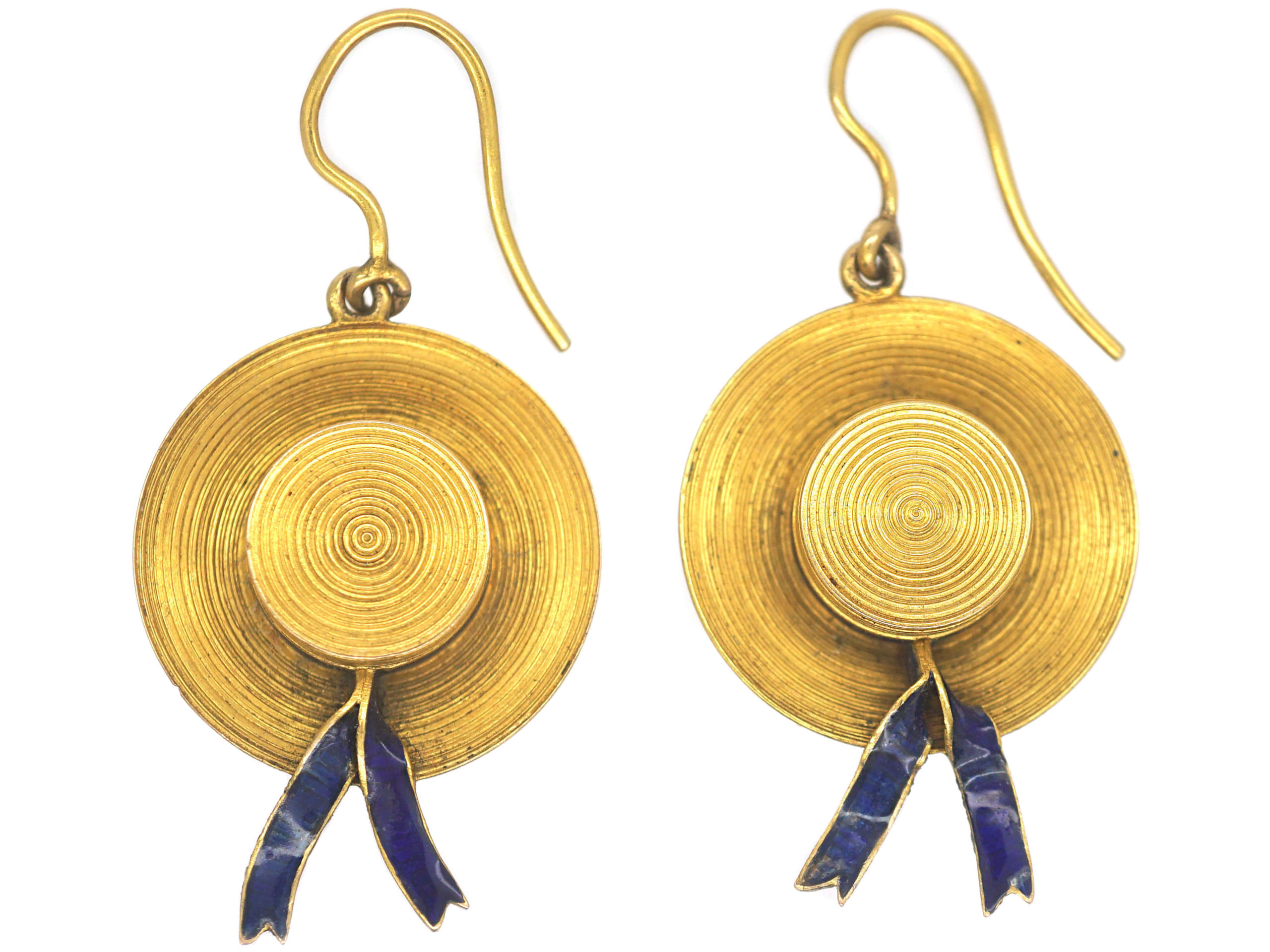 Victorian 15ct Gold & Blue Enamel Sailor's Hat Earrings