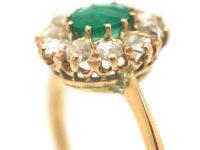 Edwardian 18ct Gold, Rose Cut Emerald & Rose Diamond Cluster Ring