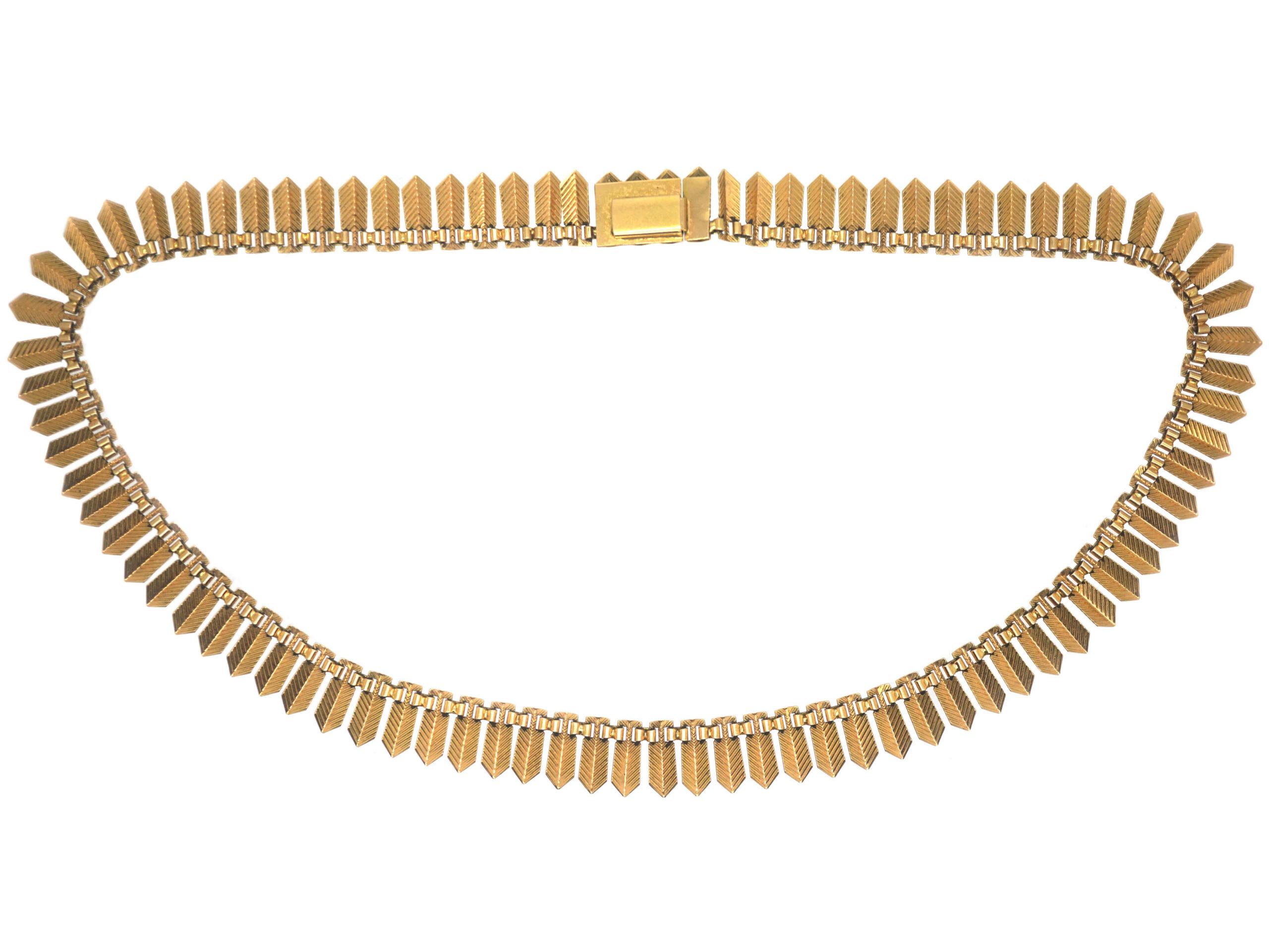 French 18ct Gold Fringe Necklace