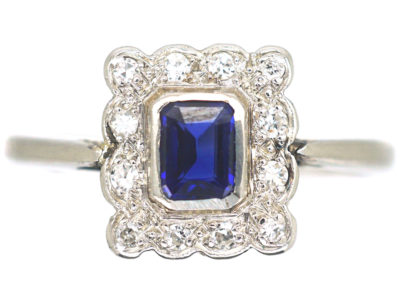 Art Deco 18ct White Gold & Platinum, Sapphire & Diamond Rectangular Shaped Ring