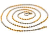 Edwardian 18ct Yellow Gold & Platinum Prince of Wales Twist Chain