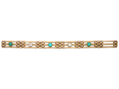 Edwardian 15ct Gold Turquoise & Diamond Gate Bracelet