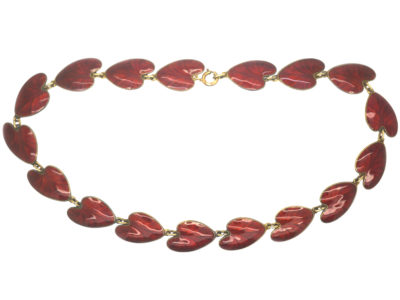 Silver & Red Enamel Lily Pad Necklace by Finn Jensen