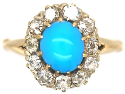 Edwardian 18ct Gold Turquoise & Diamond Cluster Ring