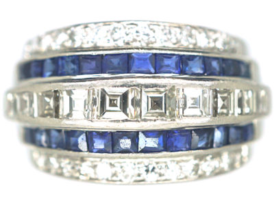 Art Deco Iridium & Platinum, Sapphire & Diamond Five Row Ring