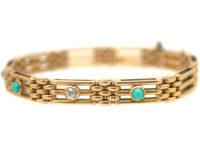Edwardian 15ct Gold Turquoise & Diamond Gate Bracelet