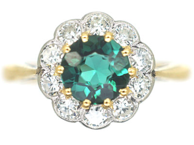 Edwardian 18ct Gold & Platinum, Green Tourmaline & Diamond Cluster Ring