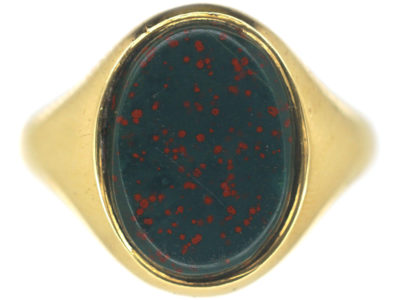 18ct Gold & Bloodstone Plain Signet Ring