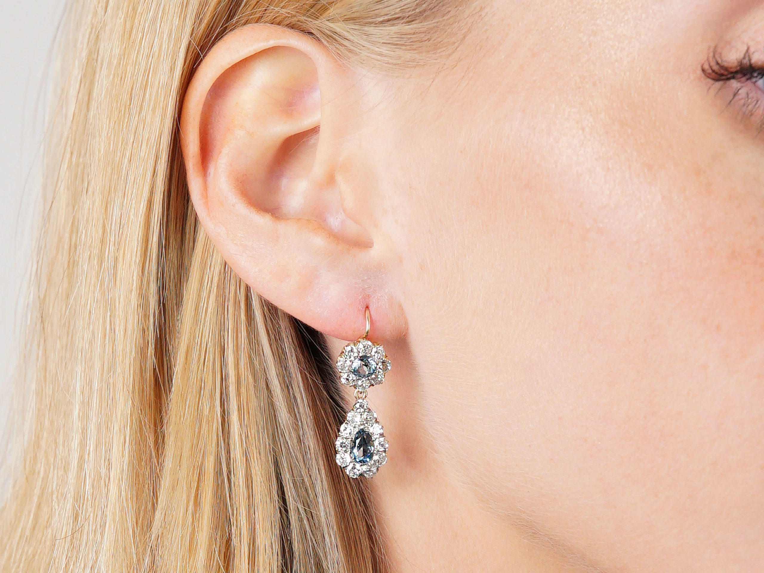 Edwardian 18ct Gold, Aquamarine & Diamond pear Shaped Drop Earrings