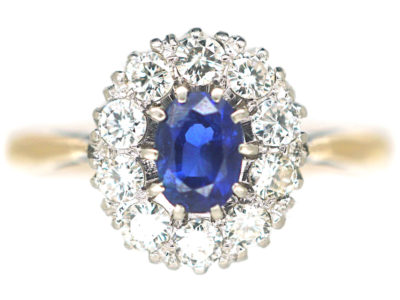 18ct Gold & Platinum, Sapphire & Diamond Oval Cluster Ring
