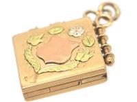 Edwardian 15ct Three Colour Gold Diamond Shaped Locket
