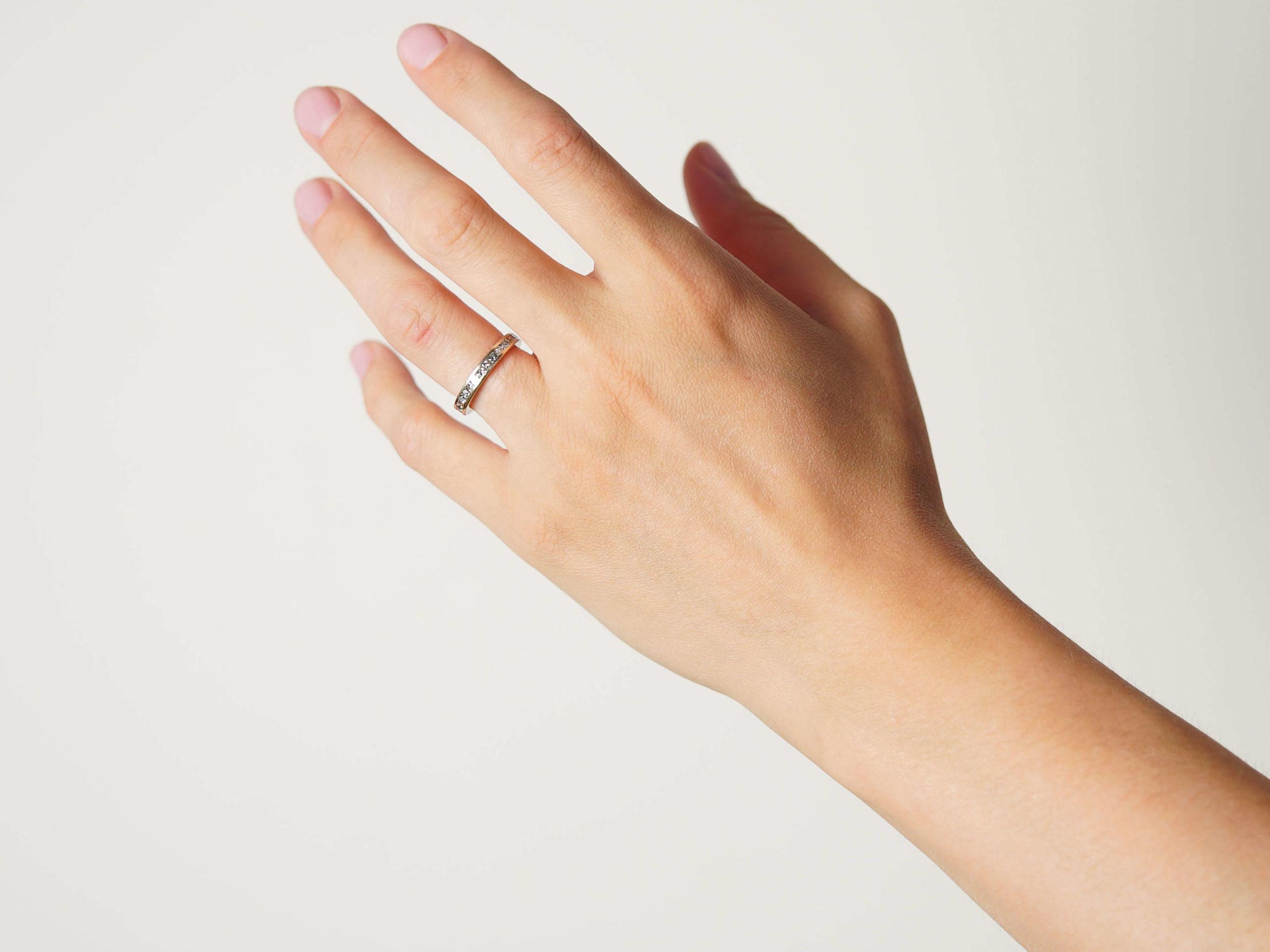 18ct White Gold & Square Cut Diamond Eternity Ring