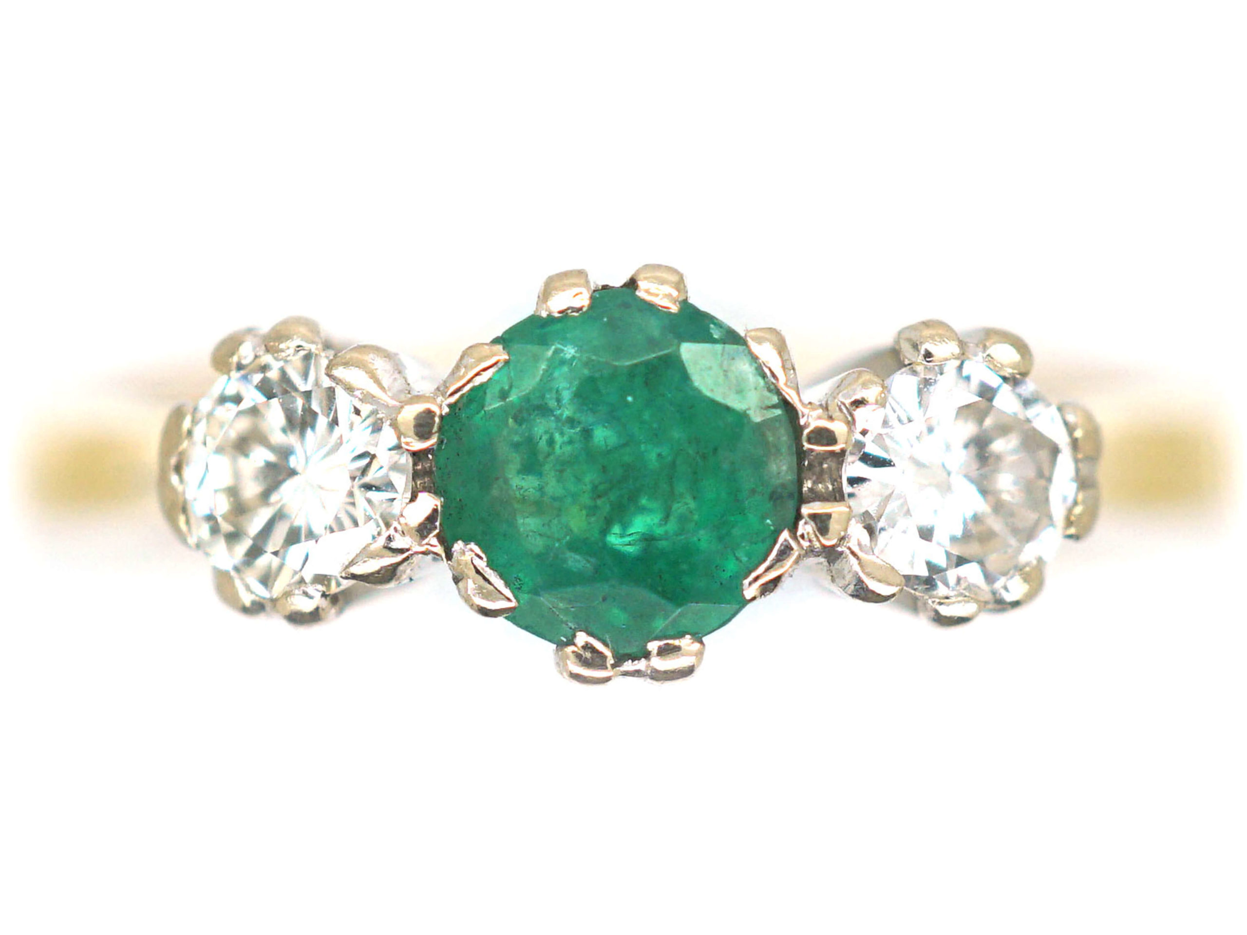 18ct Gold, Emerald and Diamond Three Stone Ring by Cropp & Farr