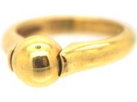 18ct Gold Revolving Sphere Ring