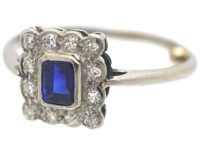 Art Deco 18ct White Gold & Platinum, Sapphire & Diamond Rectangular Shaped Ring