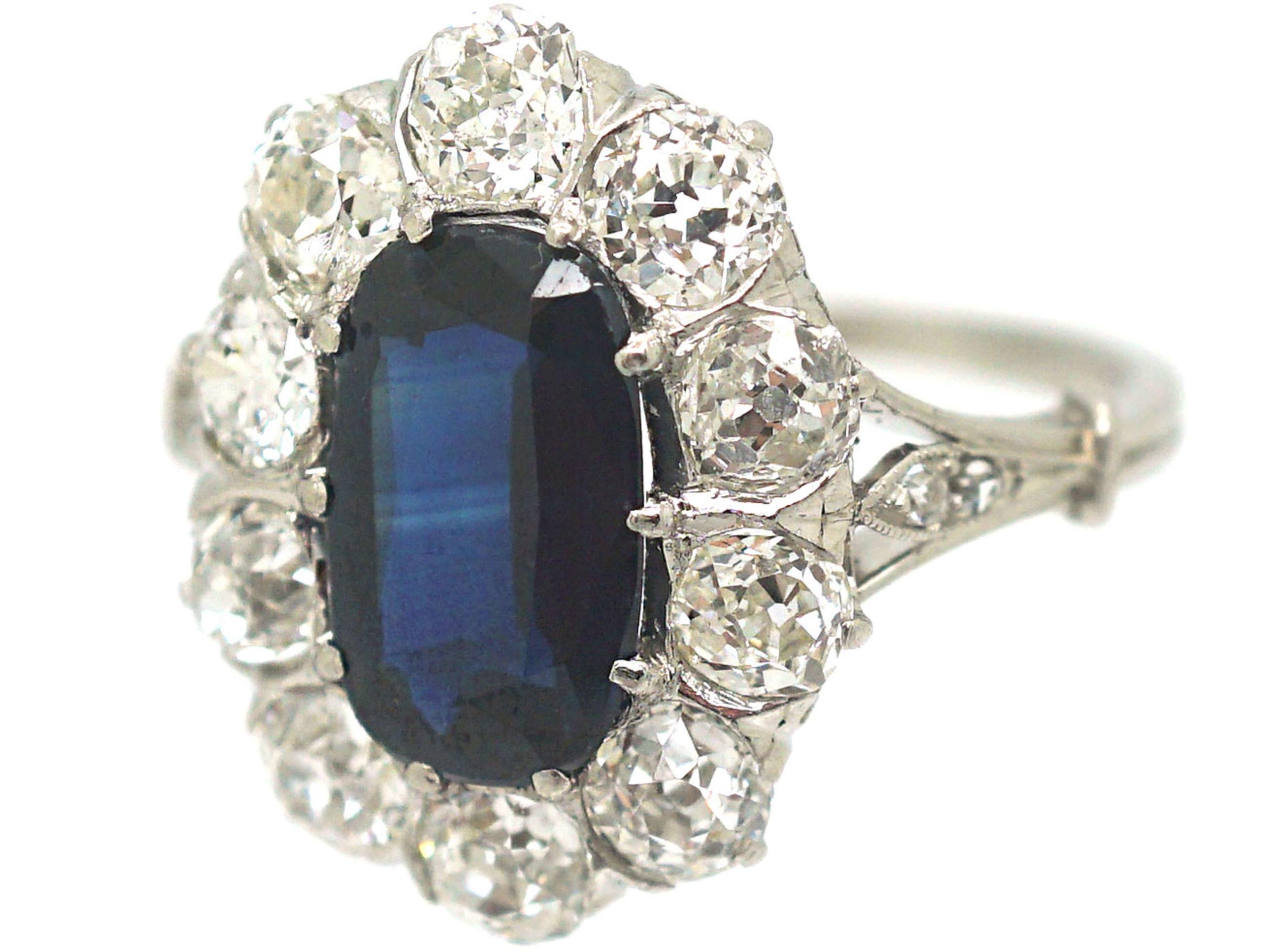 Art Deco Platinum, Sapphire & Diamond Oval Cluster Ring with Split Shoulders