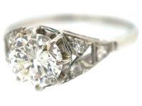 Art Deco Platinum & Diamond Solitaire Ring with Diamond Set Shoulders