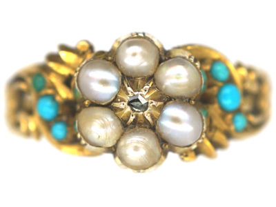 Regency 15ct Gold, Turquoise & Natural Split Pearl cluster Ring