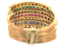 18ct Gold Seven Row Harem Ring set with Sapphires, Rubies, Emeralds & Rose Diamonds