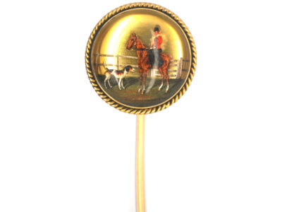 Victorian 18ct Gold & Reverse Intaglio Crystal Tie Pin of a Hunting Lady Mounted on a  Horse with Hound