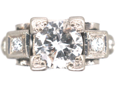 Art Deco Platinum & Diamond Geometric Ring